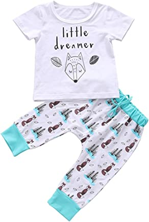 Newborn Baby Boy Girl Clothes Set Little Dreamer Fox T-Shirt Tops+Pants Outfits