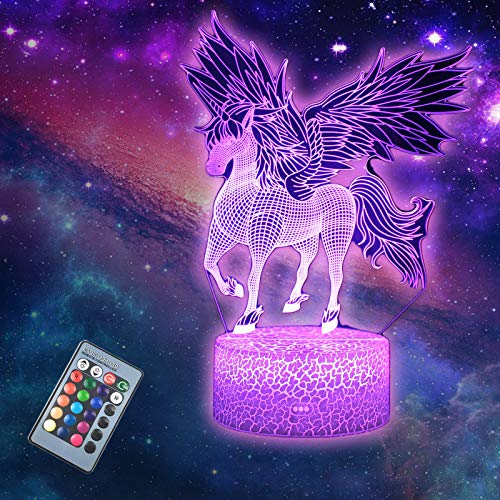 DEAL BEST Unicorn 3D Illusion LED Table Lamp Night Light with Lighted Base,16 Colors Change, Smart Touch Button & Remote Control for Men, Women, Kids, Boys, Teens Gifts (Unicorn 4)