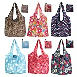SnailGarden 6 Pack Reusable Shopping Bag,Eco Friendly Foldable Grocery Bags,6 Styles Large Heavy Duty Washable Tote Bags
