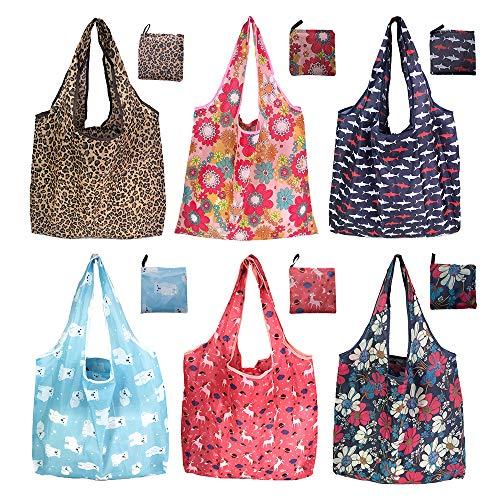 6er/Pack 42x64cm Wiederverwendbare Faltbare Einkaufstasche,Tragbare Einkaufstasche Faltbar Einkaufsbeutel,Umweltfreundliche Einkaufstaschen,Faltbar Einkaufstüten,Waschbar & Stabil & Leicht
