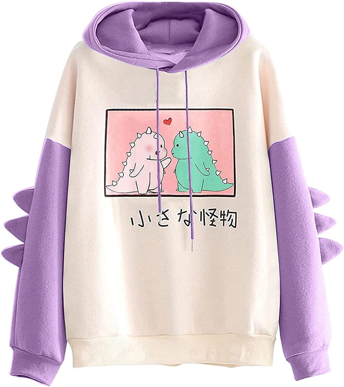 Sweatshirts Tops for Women Dinosaur Long Sleeve Splice Shirts Cartoon Cute Hoodies Warm Winter Blouse