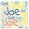 """Joe: 222 pages, size 8.25""""x8.25"""", white paper with light grey lines, Journal, Sketchbook, Notebook, Diary, white cover filled with wordcloud made of the written title in handletter typewriting in various sizes, colors and directions and a red spline."""