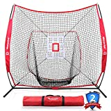 Keenstone 7'×7' Baseball Softball Practice Net with Strike Zone Target, Carry Bag, Ideal for Hitting, Pitching, Batting, Catching and Fielding Training