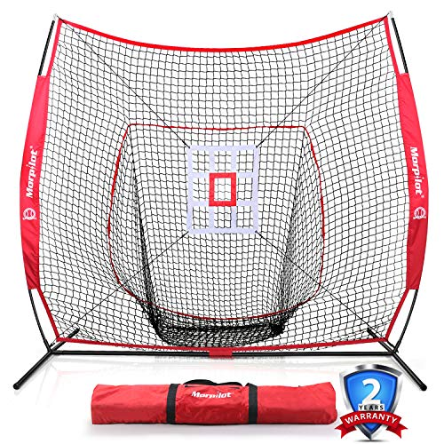 Keenstone 7'×7' Baseball Softball Practice Net Hitting & Pitching Net | Hitting, Pitching, Batting, Catching, Fielding | with Bow Frame, Strike Zone Target, and Carry Bag