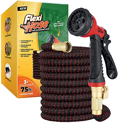 Flexi Hose Upgraded Expandable Garden Hose, Extra Strength, 3/4' Solid Brass Fittings - The Ultimate...