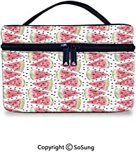 Watercolor Toiletry Bag Portable Pattern of Sweet Juicy Pieces Watermelon with Seed Tropical Summer DecorativeWaterproof Toiletry Bag,9.8x7.1x5.9inch,Coral Pale Green Black