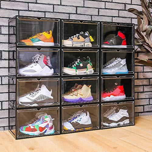3 Groot-Size Heren/Dames schoenendozen, grijper Sneaker Storage Box, transparant en stapelbaar, Duurzaam, 36 × 29 × 22cm,Black
