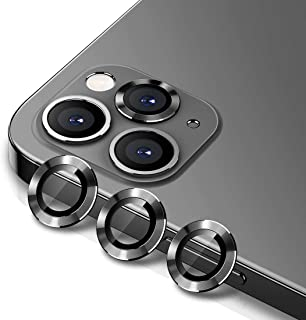 WSKEN Camera Lens Protector for iphone 12 pro 6.1 inch, Premium HD Tempered Glass Metal Ring Aluminum Alloy Lens Screen Co...