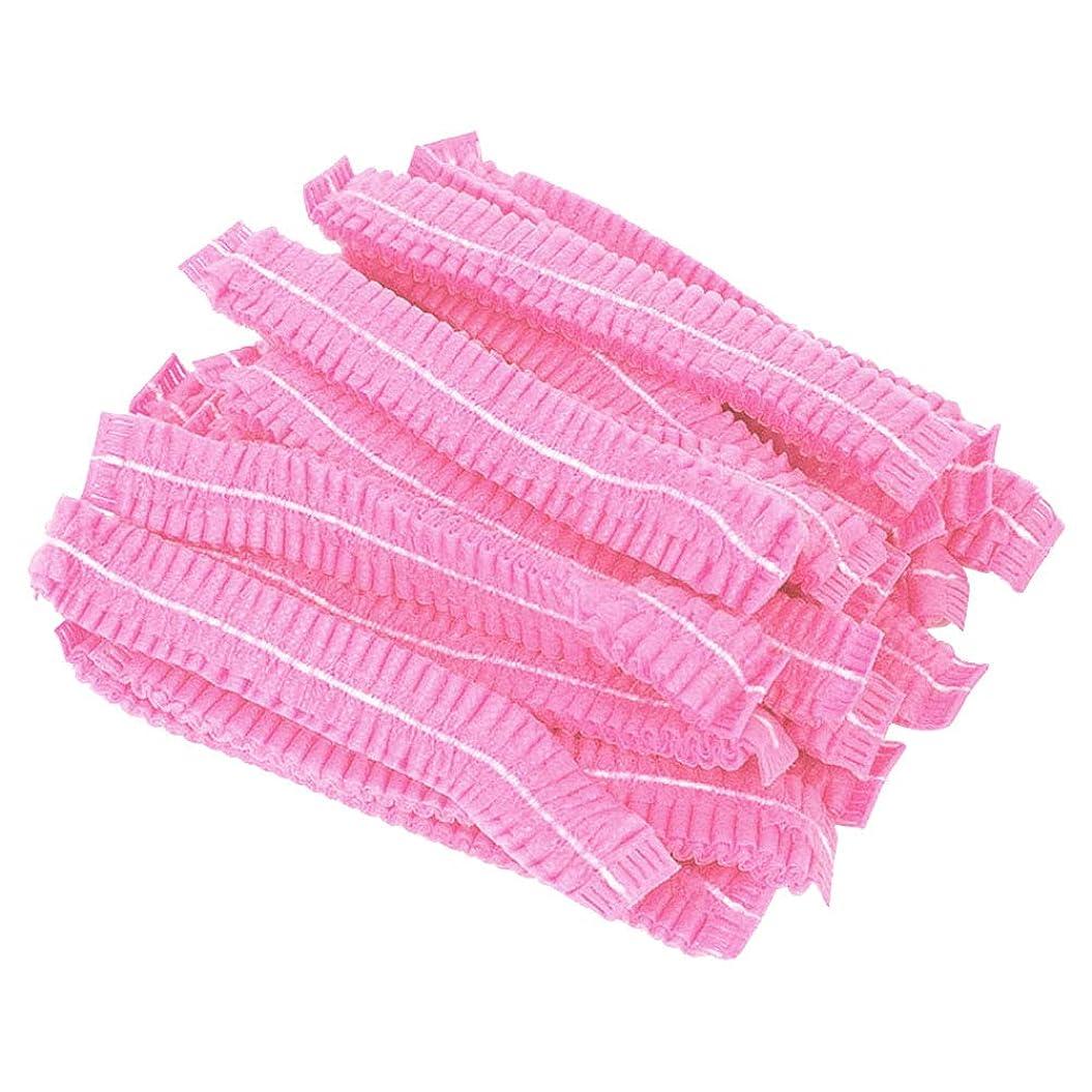 病んでいる石疑い者beaupretty 100ピースヘアヘッドカバーネット使い捨て不織布防塵ヘアキャップ付きタトゥーフードサービス(ピンク)