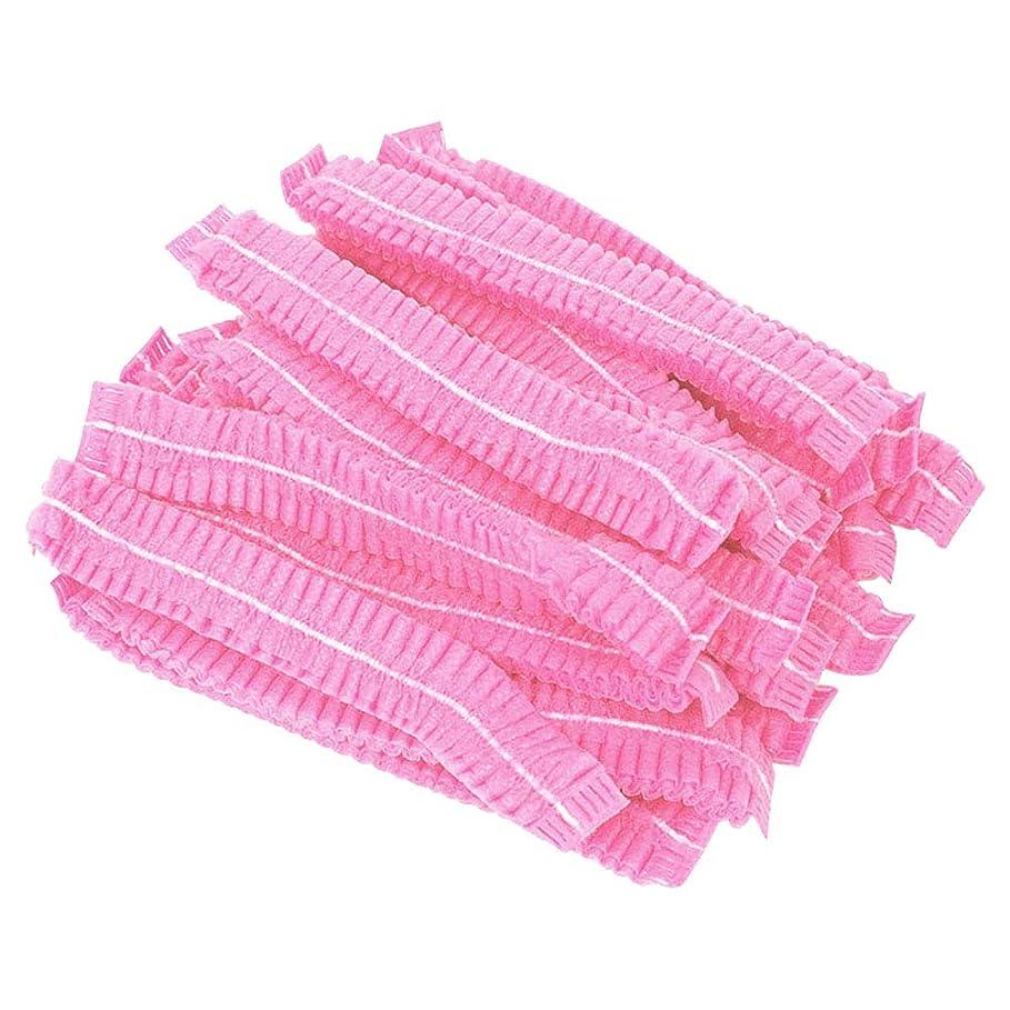 コンテストかどうか等beaupretty 100ピースヘアヘッドカバーネット使い捨て不織布防塵ヘアキャップ付きタトゥーフードサービス(ピンク)