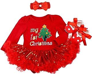 FYMNSI Neugeborenes Baby Mädchen Weihnachtsoutfit Mein erstes Weihnachten Bekleidungsset Prinzessin Tütü Strampler Body Kleid mit Stirnband Schuhe 3tlg Xmas Party Kleidung Outfit für 0-18 Monate