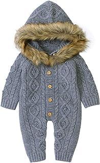 Greenwind, Mono infantilInvierno bebé niño niña suéter con Capucha de Punto de Piel sintética Cuello cálido Mono Ropa