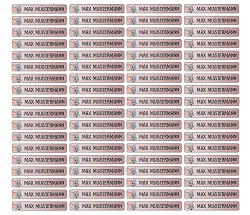 Stifteaufkleber für Bleistifte, Kugelschreiber & weiteres Namensaufkleber Namen Sticker Aufkleber 49x7,5mm | 72 Stück Kinder & Erwachsene Schule & Kindergarten 37 Hintergründe Elefant