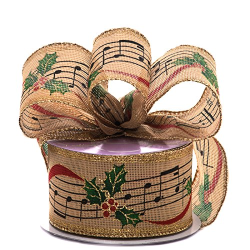 Paper Mart Natural Wired Christmas Ribbon