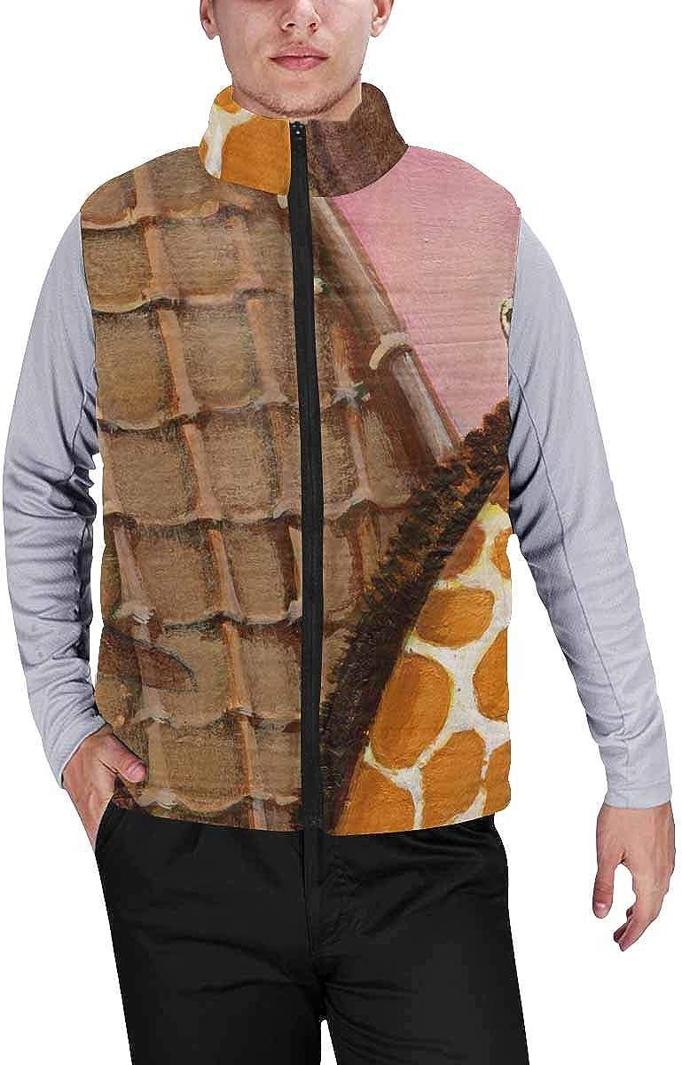 InterestPrint Men's Soft Full Zip Sleeveless Jacket for Running, Hiking Giraffe Florals Window