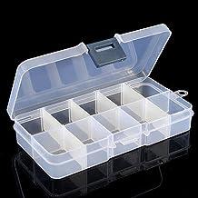 bdrsjdsb Portable 10 Compartiments Boîte De Rangement en Plastique Clair Bijoux Mini Marchandises Perle Vis Organisateur C...