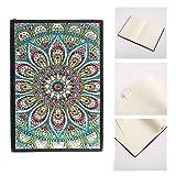 【𝐒𝐞𝐦𝐚𝐧𝐚 𝐒𝐚𝐧𝐭𝐚】 Pintura de Diamantes, Kits de Pintura de Diamantes DIY 5D para Adultos Niños Cuaderno de Pintura de Diamantes 5D Cuaderno de bocetos 50 páginas Patrón de Flor de Mandala con