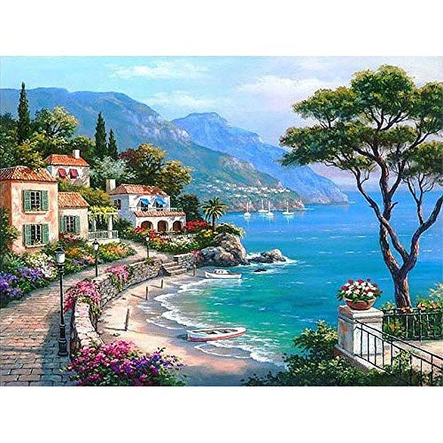 CUNYA Das Mittelmeer DIY Gemälde nach Zahlen Seascape handbemalte Ölgemälde Home Wandkunst für Wohnzimmer