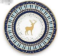 HTLLT 12インチクリスマスディナープレートクリエイティブエルクセラミック装飾食器骨西部ディナープレートアフタヌーンティースナックプレート,4スタイル