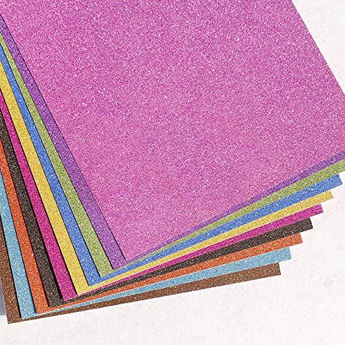 inherited 10 piezas Chispa de Brillo Papel, Hojas de espuma EVA, Papel de cartulina con purpurina para manualidades, cartulina, papel brillante para álbumes de recortes, manualidades, tarjetas