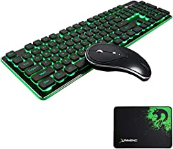 FELICON Wireless Keyboard and Mouse Combo Water Resistance 2.4G Green Backlit and Wireless Soundless Mouse with Nano USB Receiver for Laptop PC Mac (Black)