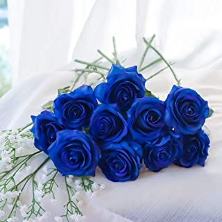 10xArtificial Plastic Rose Flower+ 2X White Baby's Breath/Gypsophila Silk Cloth Wedding Bouquet DIY Home Decor Outdoor Decoration (Blue)
