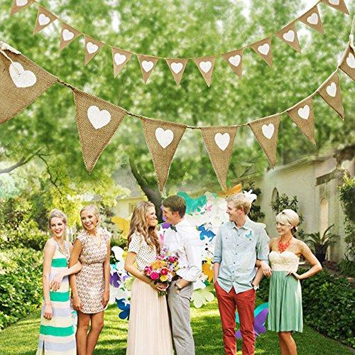 Girlande mit Jute-Fahnen, dreieckige Stofffahnen mit weißem Herz, für Vintage-Hochzeit, Geburtstagsdekoration
