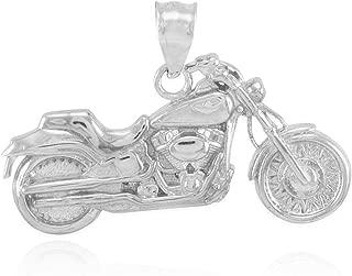 Sterling Silver Polish Biker Charmed Biker Charm Motorcycle Pendant