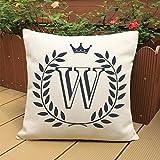 "Plush Throw Pillow Case,Woaills Letters Waist Cushion Cover with Hidden Zipper 18"" X 18"" (W)"
