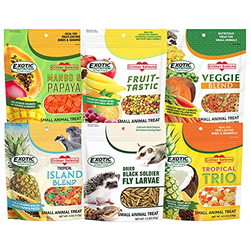 Treat Assortment 6 Pack - Pet Treat with Mix of Dried Fruits, Dried Insects, & Other Crunchies - For Sugar Gliders, Hedgehogs, Squirrels, Rabbits, Marmosets, Rats, Hamsters - Sample Variety