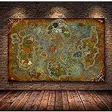 Imagen del póster 60x80cm sin Marco La decoración del póster Pintura del Mapa de World of Warcraft HD Lienzo Cuadros de Pared para Sala de Estar Pintura al óleo
