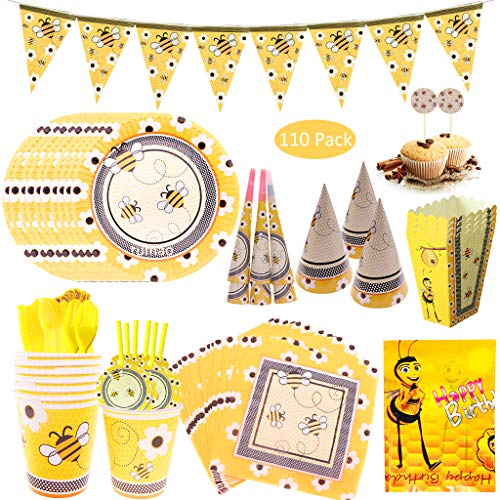 DreamJing 110pcs Bee Theme Party Supplies Tableware Set Banner Bee Hat Party Plates, Cups, Straws for Girls Boys Kids Birthday Decorations for 10 Guest