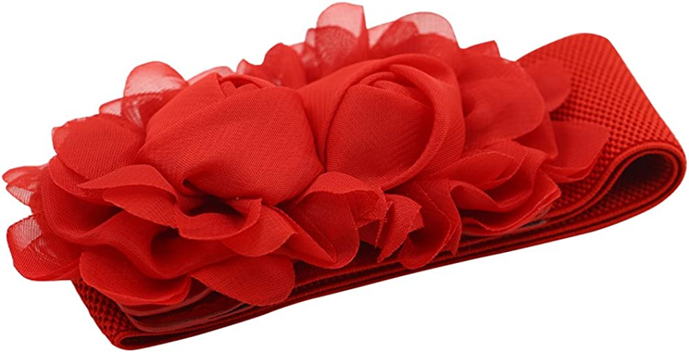 Wide Waist Belts Double Rose Flowers Chiffon Sweater Women Stretch Waistband HD