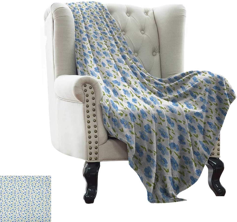 Throw Blanket Flower,Flower Pattern Feminine Nostalgic Art Greenland Natural Creative Design, Baby bluee Green White Weighted for Adults Kids, Better Deeper Sleep 50 x60