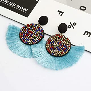 OETY Fashion big rhinestone Tassel earrings bohemian luxury long earring african colorful handmade women geometric fringe