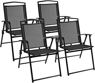 Devoko Patio Folding Chair Deck Sling Back Chair Camping Garden Pool Beach Using Chairs Space Saving Set of 4 (Black)