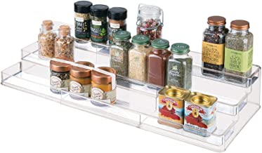 mDesign Large Plastic Adjustable, Expandable Kitchen Cabinet, Pantry, Step Shelf Organizer/Spice Rack with 3 Tiered Levels of Storage for Spice Bottles, Jars, Seasonings, Baking Supplies - Clear