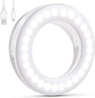 Diyife Anillo de luz Selfie,[Versión Mejorada] 40 LED USB Recargable Selfie Light Clip en Teléfono con Ajuste Continuo de ...