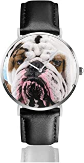 Bulldog English Sick Homepage Black Quartz Movement Stainless Steel Leather Strap Watches Casual Fashion Wrist Watches