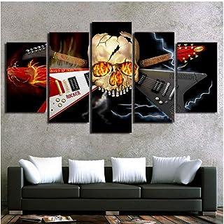 Caballetes Lienzo Arte de la Pared Imágenes Decoración Moderna de la Sala de Estar 5 Piezas Cráneo Abstracto Instrumento Musical Guitarra Impresión Cartel Pintura