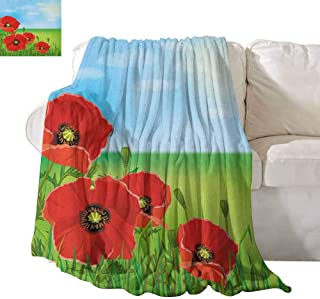 SONGDAYONE Polyester Blanket Poppy Suitable for Camping, Travel Sunny Day is Upon The Green Hills of The Country Red Summer Blossoms Growth W60 x L80 Red Pale Blue Green