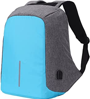 Water Resistant Laptop Backpack, Lightweight Computer Backpack with USB Charging Port Large Capacity for Travel,Business Men Women Bag for 14 15.6 inch Notebook, Sky Blue