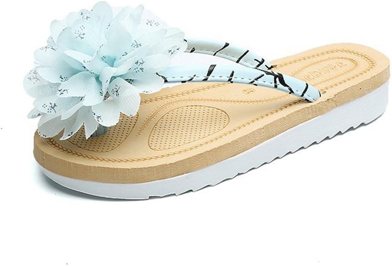 GIY Women's Flip Flops Rubber Thong Flat Sandals Flower No-Slip Summer Beach Outdoor Slippers