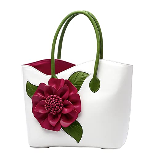 b948b257ed ABage Women s PU Leather Purse Vintage 3D Flower Tote Top Handle Crossbody  Handbag