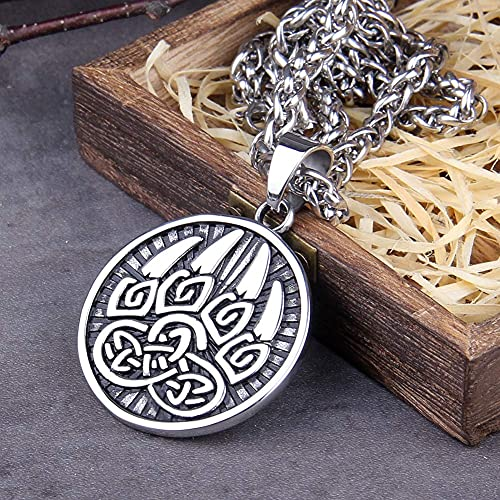 AMOZ Viking Stainless Steel Bear Claw Pendant Necklace,Men's Celtic Knot Animal Amulet Nordic Jewelry,Middle Ages Vintage Warrior Charm Sweater Clavicle Chain