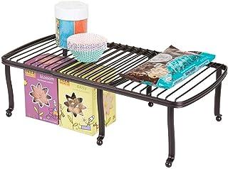 mDesign Estante para platos extensible – Ingenioso almacenaje de cocina para platos y tazas – Duplica el espacio - Platero adaptable a los armarios – Color: Bronce