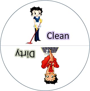 "Aloha Girls Gifts Big 3.5"" Dirty Clean Dishwasher Magnet Ends Common Kitchen Problem. Adheres to Any Surface. White."