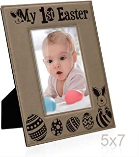 KATE POSH - My 1st (First) Easter Engraved Leather Picture Frame - Baby's 1st Easter (5x7-Vertical)
