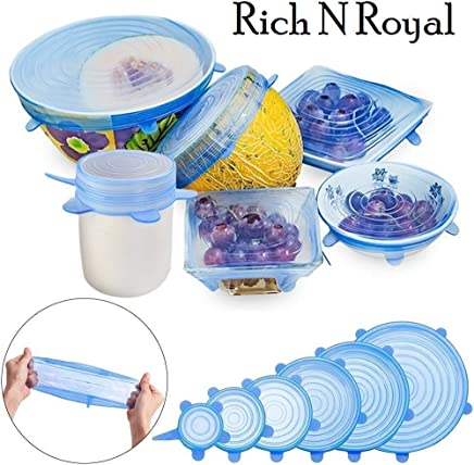 Gabru Rich N Royal Microwave Silicone Stretch Lids for Bowls Cups Pots (Multicolour)- Pack of 6