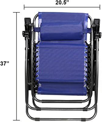 Prettyshop4246 Zero Gravity Chairs Lounge Patio Folding Beach Chair Outdoor Set of Blue 4 PCS New